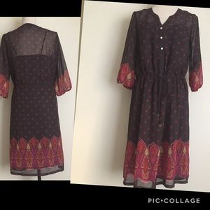 Massimo Dress Size M Printed Lined Sleeve 3/4